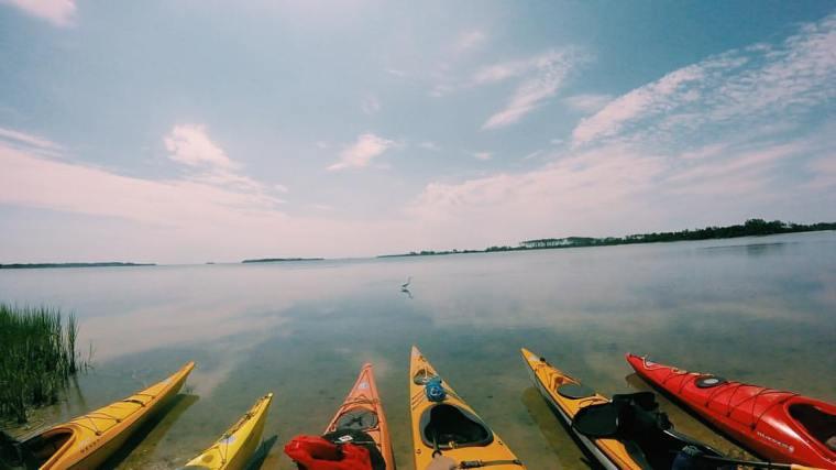 kayaks on beach